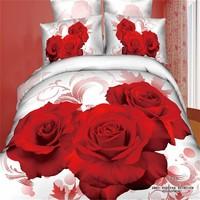 White base big red rose bedding sets 3d rose 2015 3d bedding set