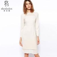 Long sleeve round neck pleated bottom women frock designer
