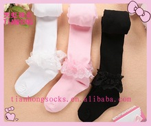 new arrival new style lovely little baby tube pantyhose with lace