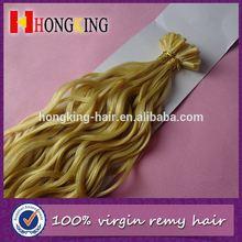 Blond Color U Tip Rebounded Hair Extension