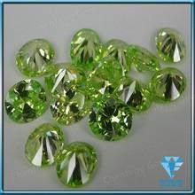 diamond cut cubic zrconia round olive green CZ gemstone