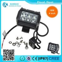 Waterproof 4'' 18W Off road Bamboo Led Light Bar 2 Rows Led Light Bar Flood/Spot for Truck ATV SUV LED work light