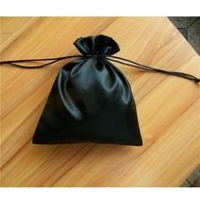 fashion top sale black jewelry silk bag /black satin pouches with custom logo