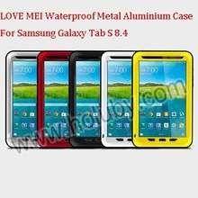 LOVE MEI Powerful Metal+Aluminium+Gorilla Glass Hybrid Shockproof Waterproof Case for Samsung Galaxy Tab S 8.4 T700 T705