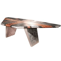 Industrial Union Jack Office Desk in Leather and Panelled Aluminium