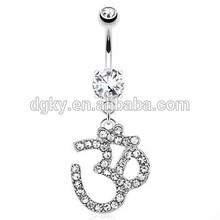 Om Symbol Paved Gem Dangle Surgical Steel Navel Ring navel piercing channel