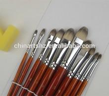 wood handle golden synthetic filbert artist brushes
