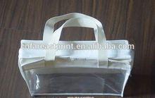 Fashion square bottom pvc cosmetic bag with organza top