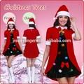 Europa y los estados unidos de color rojo del árbol de navidad traje caliente dress+hat mascarada de vestuario