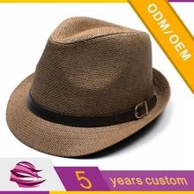 Ladies straw hat small brim leather belt cool straw hat promotional straw hat