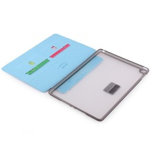 TPU + PC Hybrid PU Leather Multi-angle Stand Case with Credit Card Pockets for iPad Cover