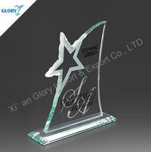 actualizado popular en forma de estrella de cristal de vidrio grabado premio trofeo placa