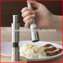 Portable one handed salt and pepper grinder ideal for grinding salt