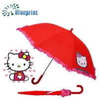 Beautiful Ruffles Border Cartoon Kitten Print Children Umbrella