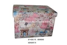 Handmade Paris antique map design wood folding stool