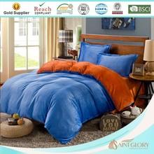 flannel orange and blue quilt / duvet