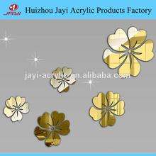 Acrílico espelho adesivos de parede multi flores golden hibiscus