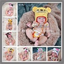Kawaii yellow crocheted baby pattern bonnets,crochet bear hat beanie with ear flap