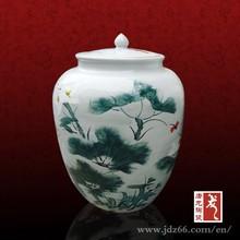 Estilo moderno excelente calidad de loto round pond tarro de jengibre decorado para el vino