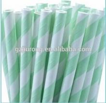 Mint Green Striped Paper Straws