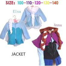 Girls autumn and winter coats 2014 plush linning elsa and anna frozen winter coat kids jacket