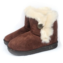 GP101503 Dark brown color leather snow boot Girls winter snow boot High quality kids half winter boots