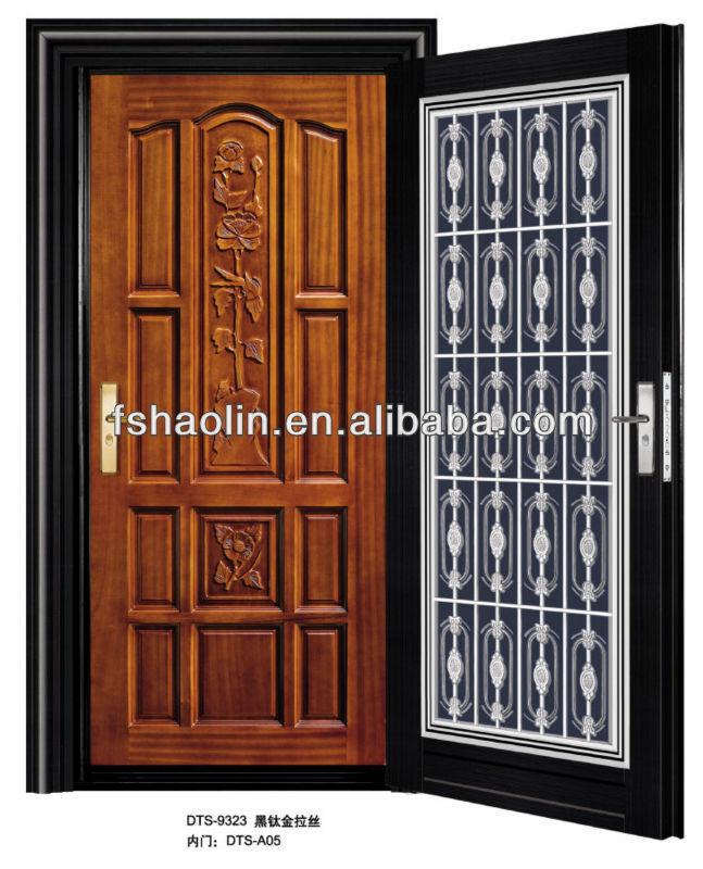 House Main Door Model With Wood Door Inside Dts 9323 Dts