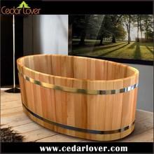 freestanding mobile cedar wood bathtub