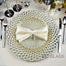 Wholesale Underplate New Wedding and Restaurant Gold Silver Glass Decoration Charger Plate