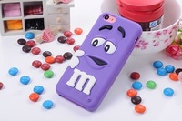 Lovely 3D cartoon cute M&M Silicon Chocolate jelly Bean Case for iphone 5C,500pcs/lot