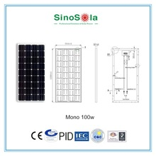 hot sale solar panel 100w high efficiency mono solar panel for caravan rv accessories ,home use with TUV/PID/CEC/CQC/IEC/CE