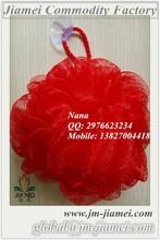 Mesh red bath sponge with PVC sucker