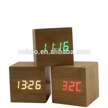 Modern Wooden Digital Desk Wood Alarm Clock Red/Green LED Thermometer