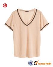 Custom womens jersey top trendy v-neck t-shirts