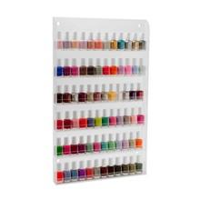 Wall mounted 72 bottles clear acrylic nail polish shelf