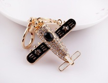 High Quality Eco-friendly zinc alloy Crystal plane Keychain