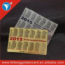 Sıcak!! Kredi kartı boyutunda kişiselleştirilmiş cebinde tarzı metal kartı, metal takvim kartı iş tanıtımı için