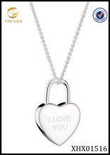 I Love You My Heart Silver Necklace Plain Locket Shap Silver 925 Jewelry