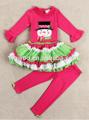 çok şirin! Hızlı teslimatinstock çocuklar unqiue giyim setleri snowman kabarık renkli elbise fırfır yenidoğan bebek yılbaşı kıyafetleri