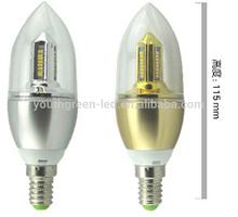High Lumen high bightness energy star 360 Degree 5W E12 led candle light 2500k RA>90 4W/6W Dimmable 5w e12 led candle light