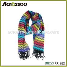 Promotion & Premium Gift Acrylic Jacquard Knit Winter Fringes Scarf