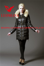 female long warm pink down coat with real big fox fur