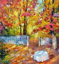 Excellent garden scenery landscape oil painting for home decor knife canvas art