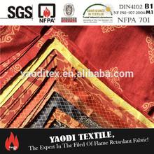 Wholesale 100% polyester inherent flame retardant fire retardant drapery fabric russian style curtain fabric