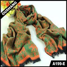 A199-E Green Orange Elephant Rayon Scarves Shawls