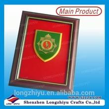 Wooden frame enamel metal shield custom red velvet inside wall plaque