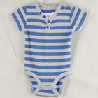 100% cotton interlock fabric baby bodysuit blue/gray