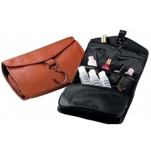 Business travel PU hanging toiletry bag for men