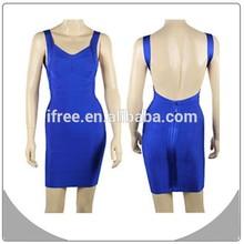 2014 new fashion fascinating women dress blue sexy backless bandage dress