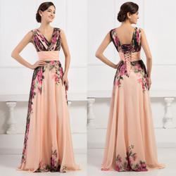 GK Deep V-Neck Flower Pattern Chiffon Long Floral Evening Dresses CL7502